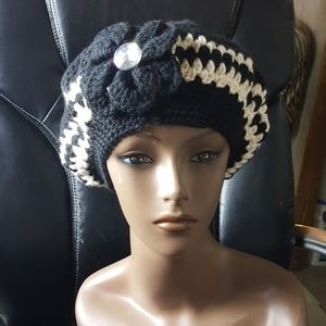 Black and White Crochet Hat